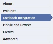 Facebook Integration tab