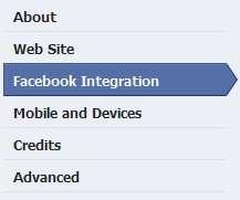 Facebook Integration tab