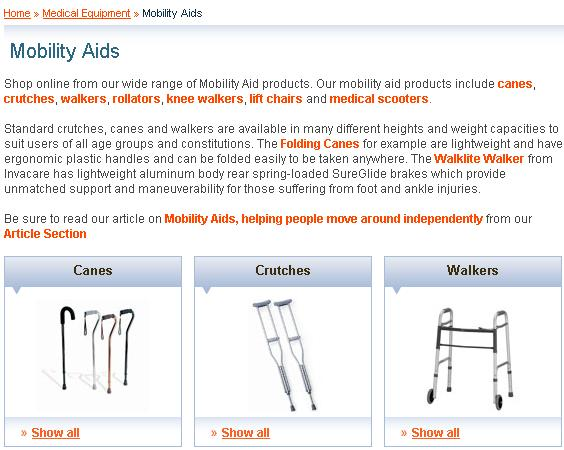 Mobility Care category content
